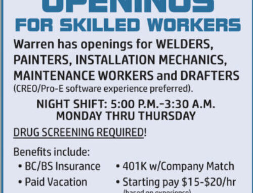 We're Hiring! We are looking for skilled workers for several positions for the night shift!